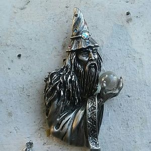 Fantasy Wizard crystal ball witch brooch magic